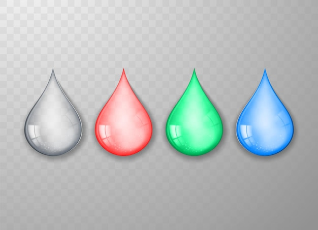 Set of realistic multicolored water drops isolated on transparent background