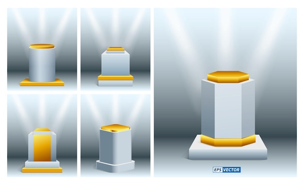 Set of realistic museum stage or realistic cubes podium for exhibit and trophy or empty geometrical