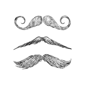 Set of realistic mustache in black and white illustration