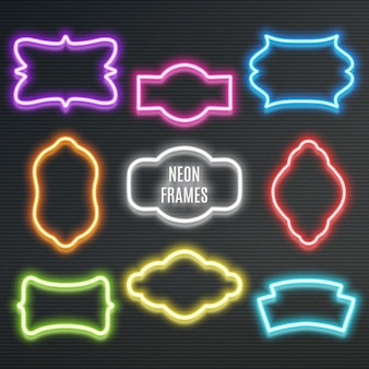 Set of realistic neon frames