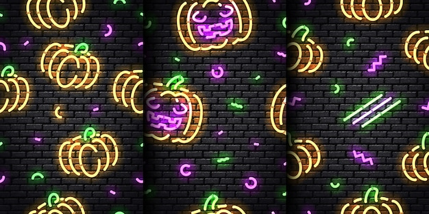 Set of realistic  neon seamless pattern of halloween on the seamless wall background.