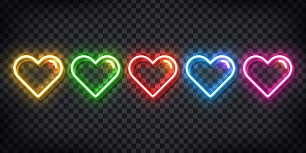 Set of realistic  neon sign of colorful hearts for template decoration and layout covering on the transparent background.