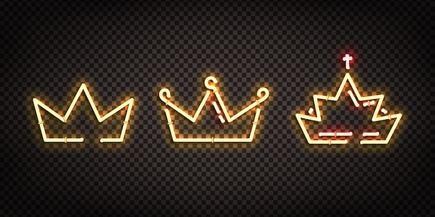 Set of realistic  neon sign of crown logo for decoration and covering on the transparent background.