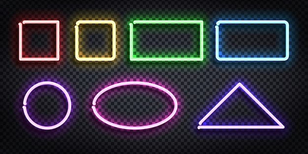 Set of realistic  neon sign of frame with different shape and color for template and layout on the transparent background.