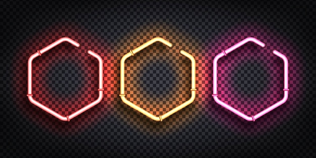 Set of realistic  neon sign of hexagon frame