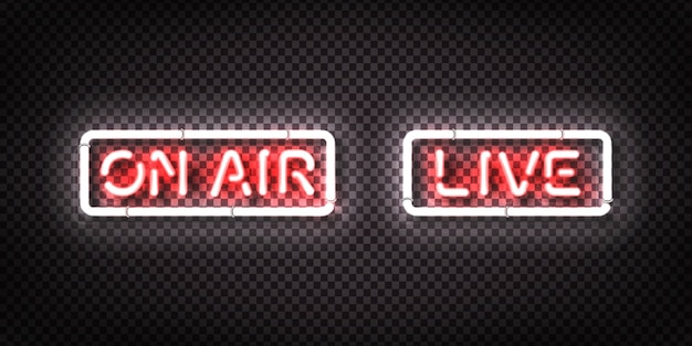 Set of realistic  neon sign of live and on air