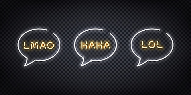 Set of realistic  neon sign of lol, haha, lmao logo for decoration and covering on the transparent background. concept of social media and laugh.