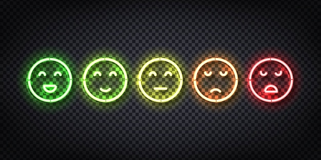 Set of realistic  neon sign of rating faces