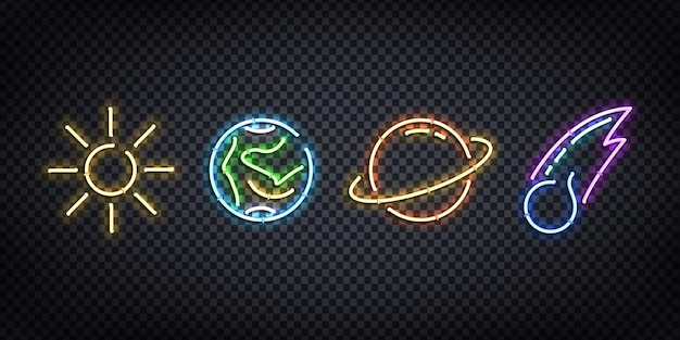 Set of realistic  neon sign of space for decoration and covering on the transparent background.