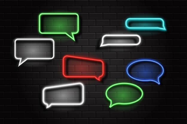 Set of realistic  neon sign of speech bubble logo for decoration and covering on the wall background.