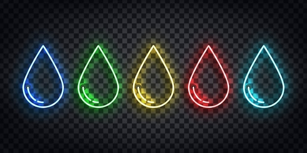 Set of realistic  neon sign of water, poison, oil and blood droplet logo for template decoration on the transparent background.