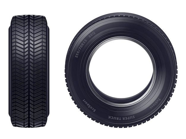 Set of realistic new car tires front and profile view isolated over white background illustration