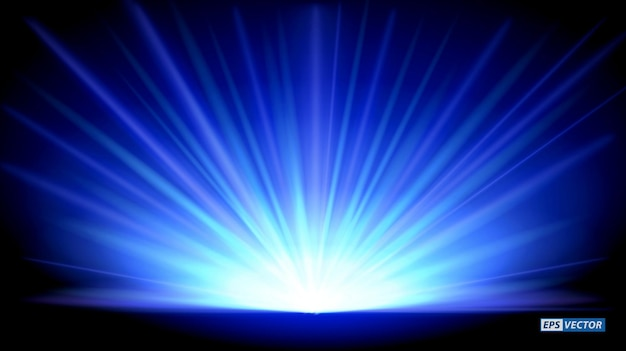 Set of realistic new year blue rays rising isolated or blue magic sunlight light effect