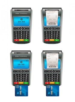 Set of realistic nfc pos terminals for payment by debit or credit card with shopping bill on white