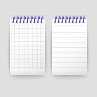 Set of realistic notebooks blank open padded sketchbook with lines and notebook in the cell for writing message templates