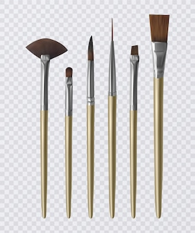 Set of realistic paintbrushes