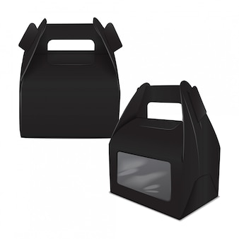 Set of realistic paper cake package, black box , gift ontainer with handle and window. take away food box  template