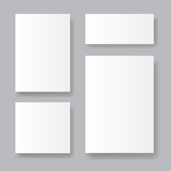 Set of realistic paper sheets on grey