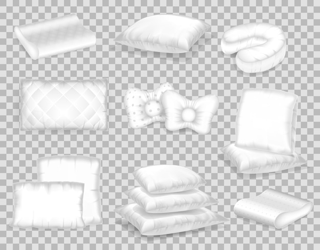 Set of realistic patterns templates of white pillows different shapes.