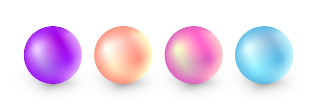 Set of realistic pearls isolated