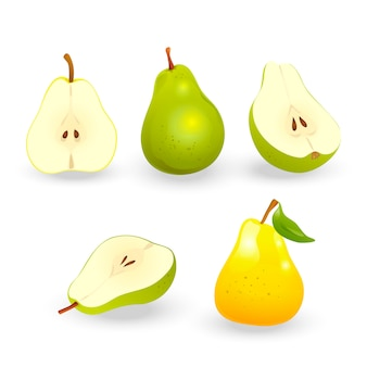Set of realistic pears.