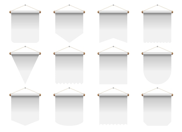 Set of realistic pennant illustration