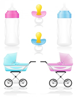 Set of realistic perambulator bottle pacifier pink and blue vector illustration