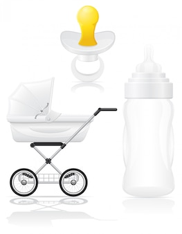 Set of realistic perambulator bottle and pacifier vector illustration