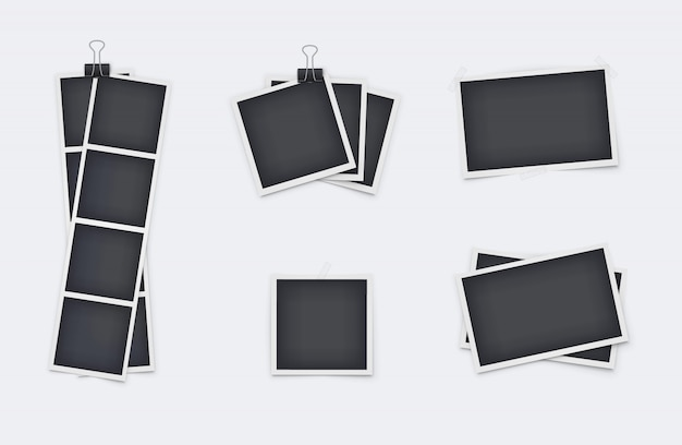Set of realistic photo frames isolated