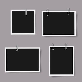 Set of realistic photo frames with shadows