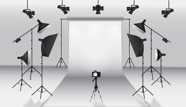 Set of realistic photo studio white blank background isolated or set up photo scene soft box light