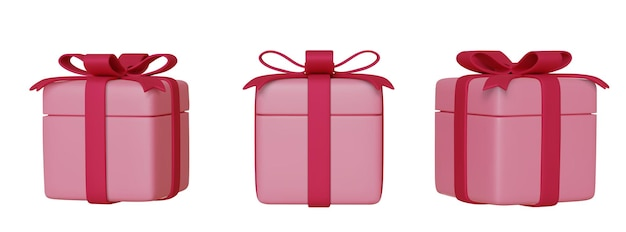 Set of realistic pink 3d gifts box with bows and ribbons, isolated on white background.