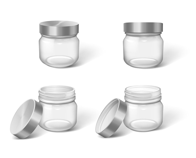 Set of realistic plastic or glass jars with cups closed or open