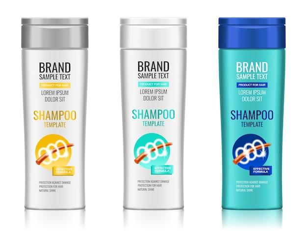 Set of realistic plastic shampoo