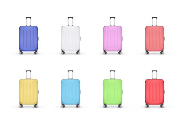 Set of realistic plastic suitcases