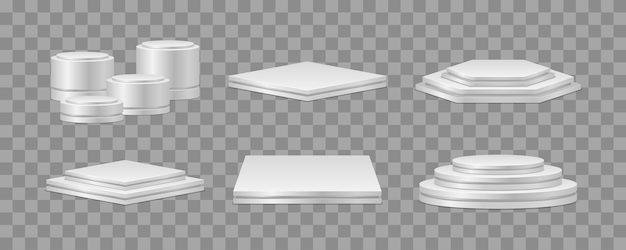 Set of realistic podiums podium or platform for award ceremony and product presentation