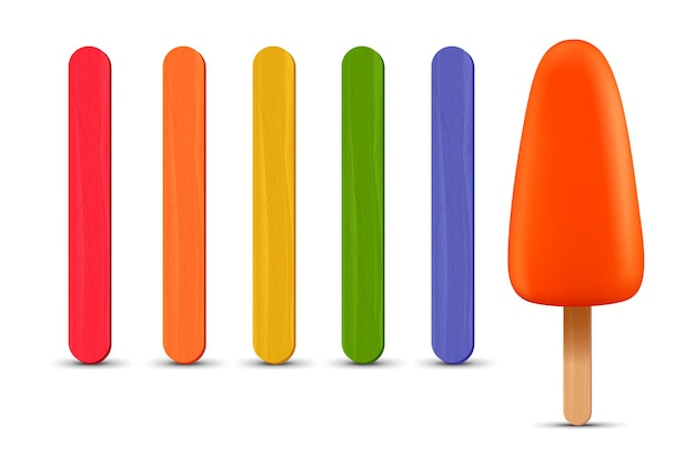 Set of realistic popsicle sticks orange ice cream d vector illustration summer season