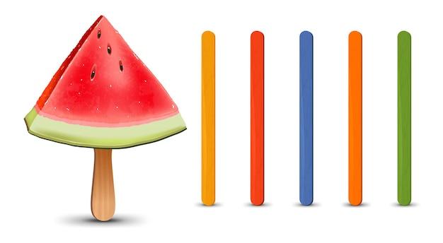 Set of realistic popsicle sticks watermelon piece on popsicle stick vector illustration summer season