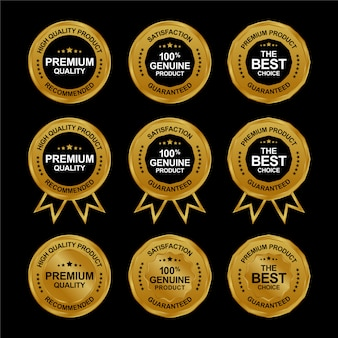 Set of realistic premium golden sale medal. golden labels collection
