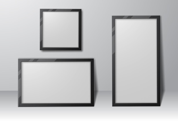 Set of realistic rectangular and square photo frames with shadows, empty template for your design.