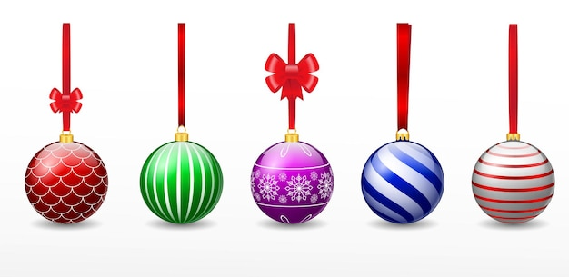 Set of realistic red christmas ball hanging isolated or various color christmas ball decorative