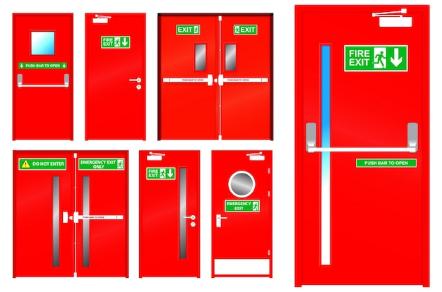 Set of realistic red emergency exit door isolated or red color metal door for emergency