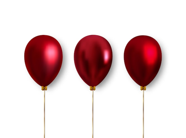 Set of realistic red inflatable balloons