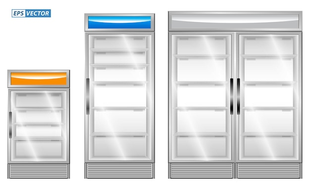 Set of realistic refrigerator showcase isolated or commercial refrigerator cooling drinks fridge