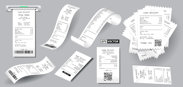 Set of realistic register sale receipt isolated or cash receipt printed on white paper concept