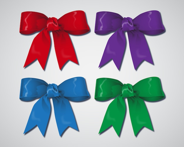 Set of realistic ribbons and bows for present box