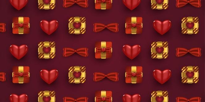 Set of realistic romantic decorations