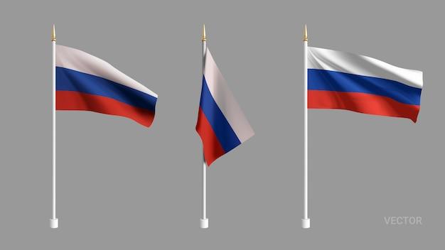 Установите реалистичный флаг россии. развевающийся флаг текстиль. шаблон для продуктов, баннеров, листовок, сертификатов и открыток. иллюстрация