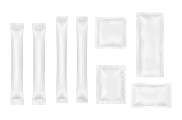 Set of realistic sachets for products, food, cosmetics or medicine package