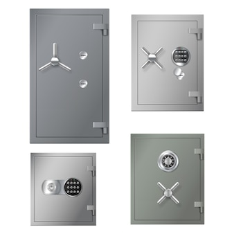 Set of realistic safes boxes with metal steel doors and combination lockers for banking